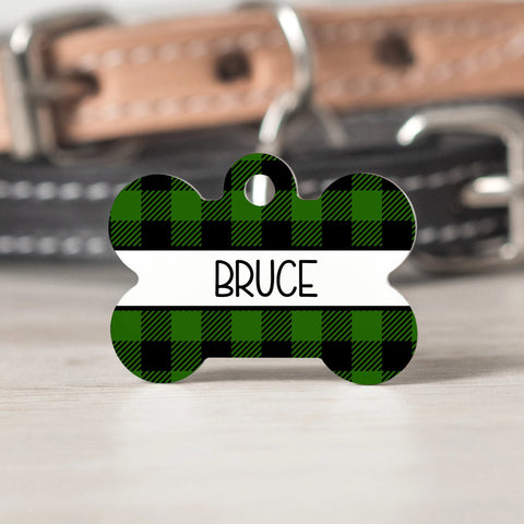 Green Buffalo Check Pet Tag