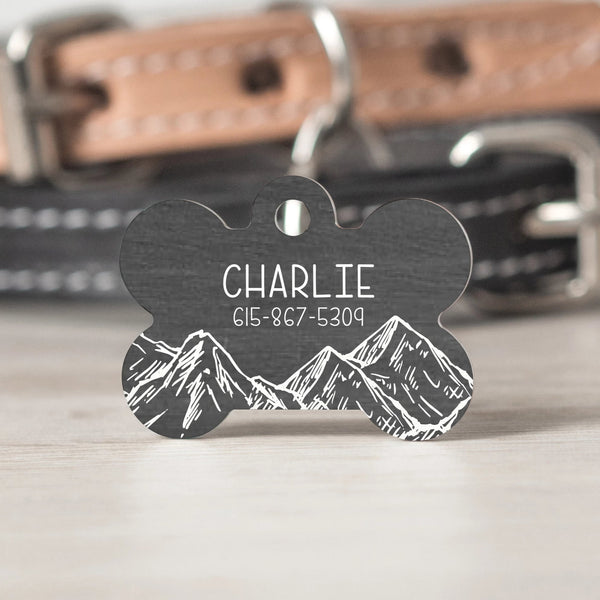 Rustic Mountain Faux Wood Pet Tag