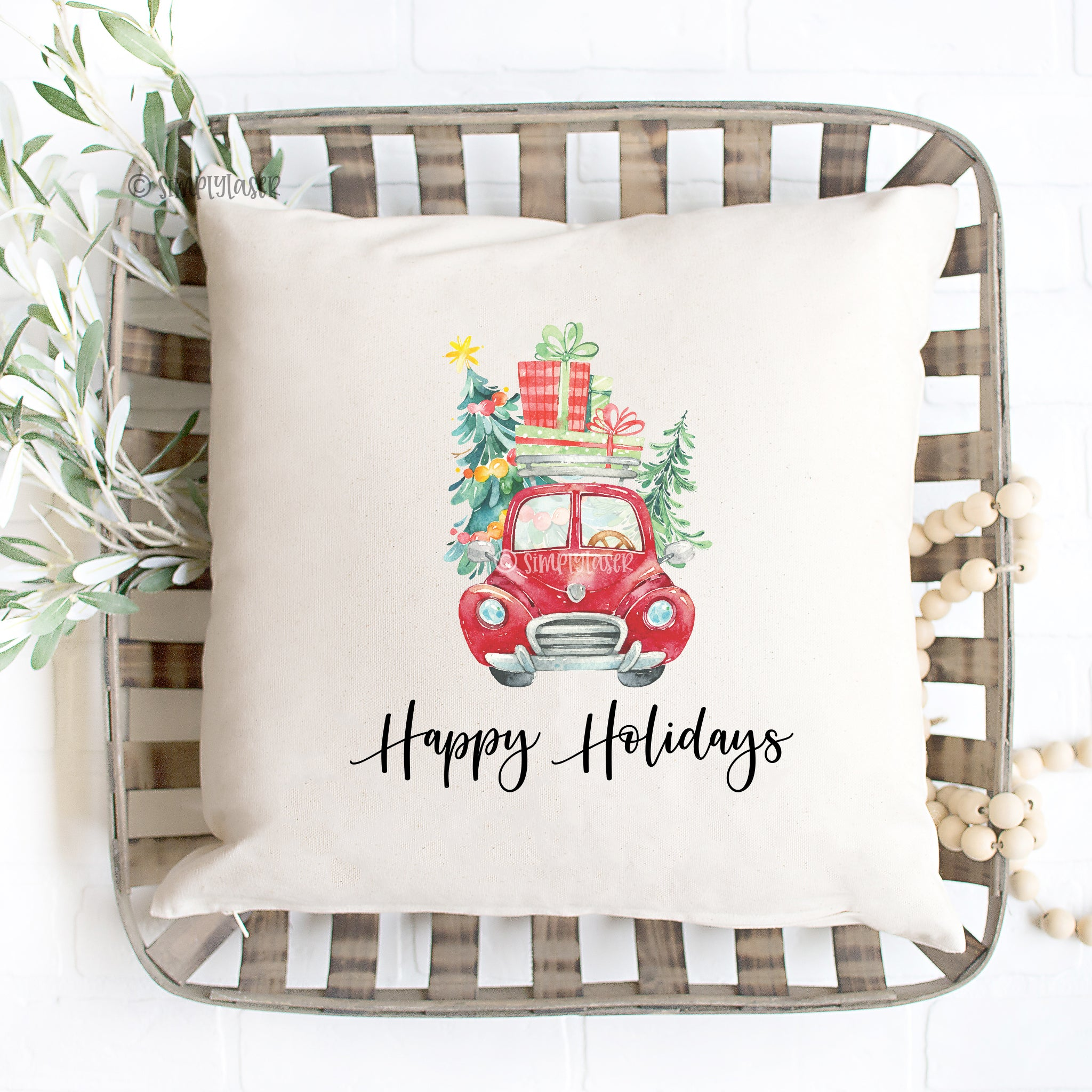 Happy Holidays Pillow Cover