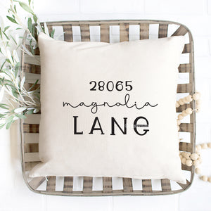 Street Address Pillow Cover