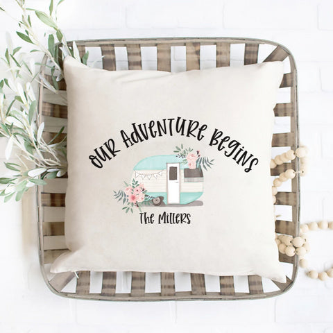 Our Adventure Begins Camper Pillow Cover