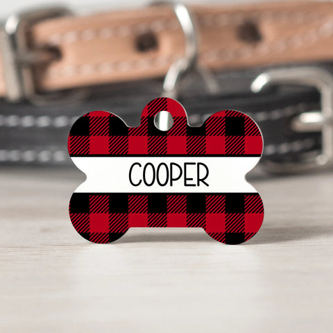 Red Buffalo Check Pet Tag