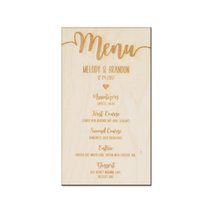 Set of 6 Wooden Wedding Menu