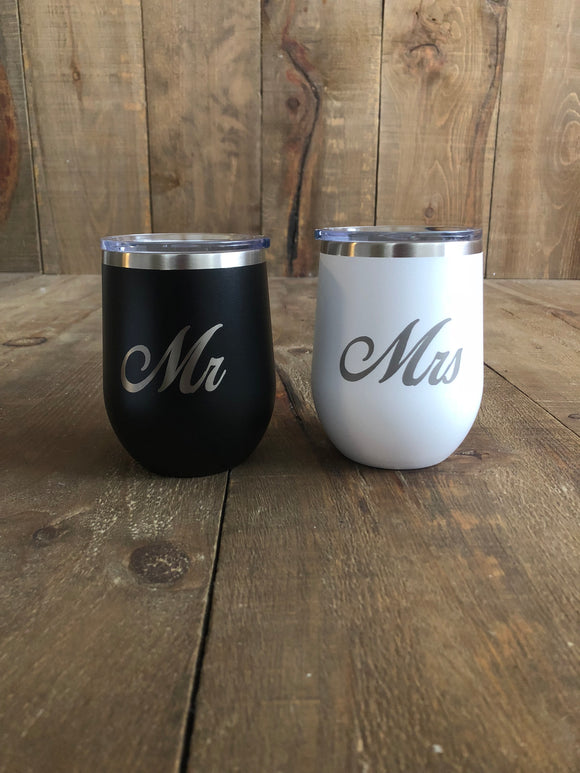 Mr and Mrs Stemless Wine Glass Tumbler Set