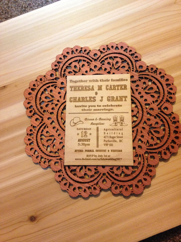 Western Theme Wood Laser Engraved Invitations | Invitations | JWATERS DESIGN