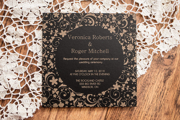 Laser Engraved Mat Board Wedding Invitations | Invitations | JWATERS DESIGN