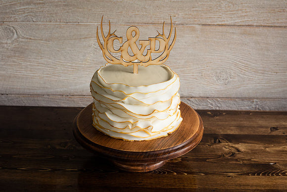 Rustic Antler Maple Wedding Cake Topper | Cake Topper | JWATERS DESIGN