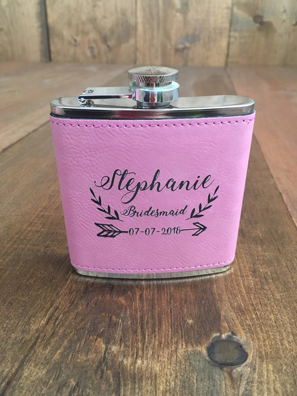 Pink Engraved Bridesmaid Hip Flask Bridesmaid Gifts | Flasks | JWATERS DESIGN