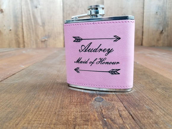 Personalized Pink Bridesmaid Flasks Gift Set | Flasks | JWATERS DESIGN
