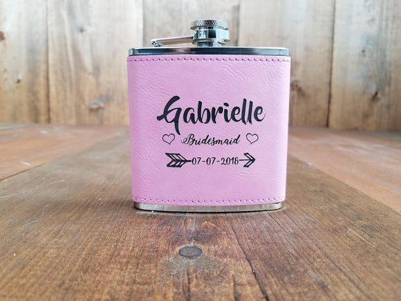 Fun Pink Personalized Bridesmaid Flasks | Flasks | JWATERS DESIGN
