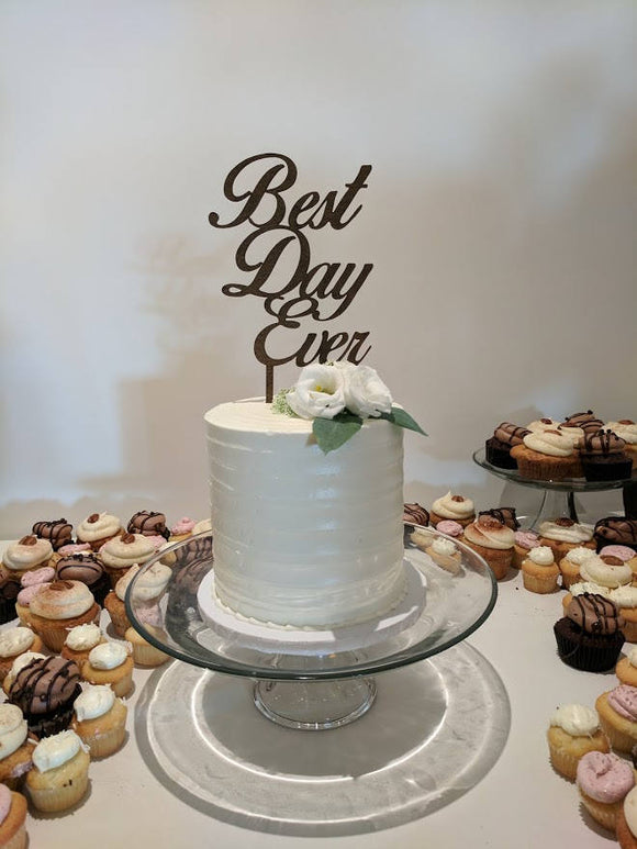 Best Day Ever Black Acrylic Wedding Cake Topper | Cake Toppers | JWATERS DESIGN
