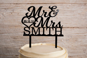 Custom Black Acrylic Mr and Mrs and Last Name Wedding Cake Topper | Cake Toppers | JWATERS DESIGN