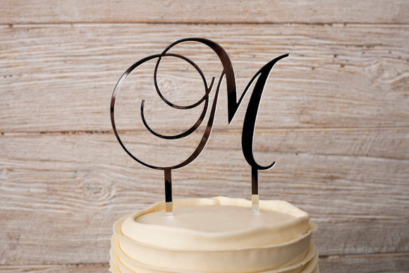 Silver Mirrored Acrylic Cursive Letter Wedding Cake Topper | Cake Topper | JWATERS DESIGN