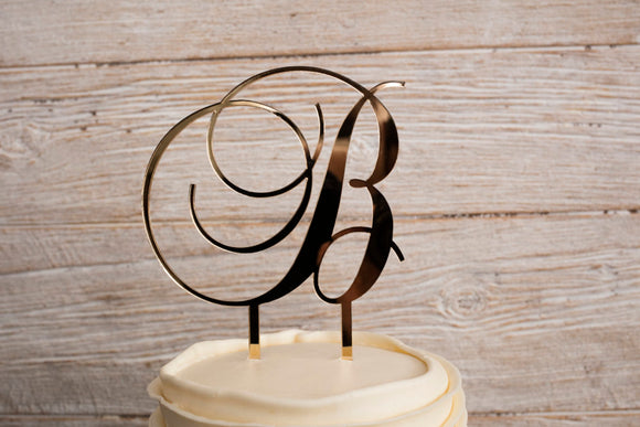 Gold Mirrored Acrylic Last Name Initial Wedding Cake Topper | Cake Topper | JWATERS DESIGN