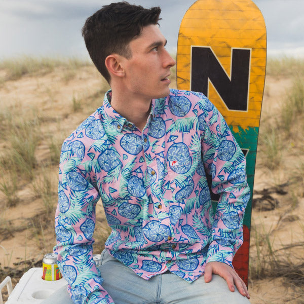 Long Sleeve Shirt, Mens Shirt, Multicolour, Hawaiian Shirt, Coconuts, Party Shirt