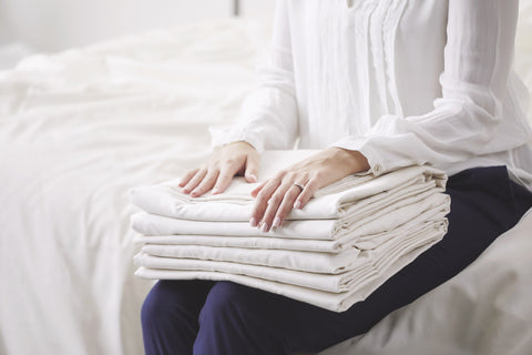 Folded organic cotton sheets