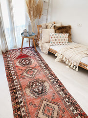 Gemma Vintage Coral Red Handwoven Turkish Hallway Kitchen Runner Rug - Lustere Living