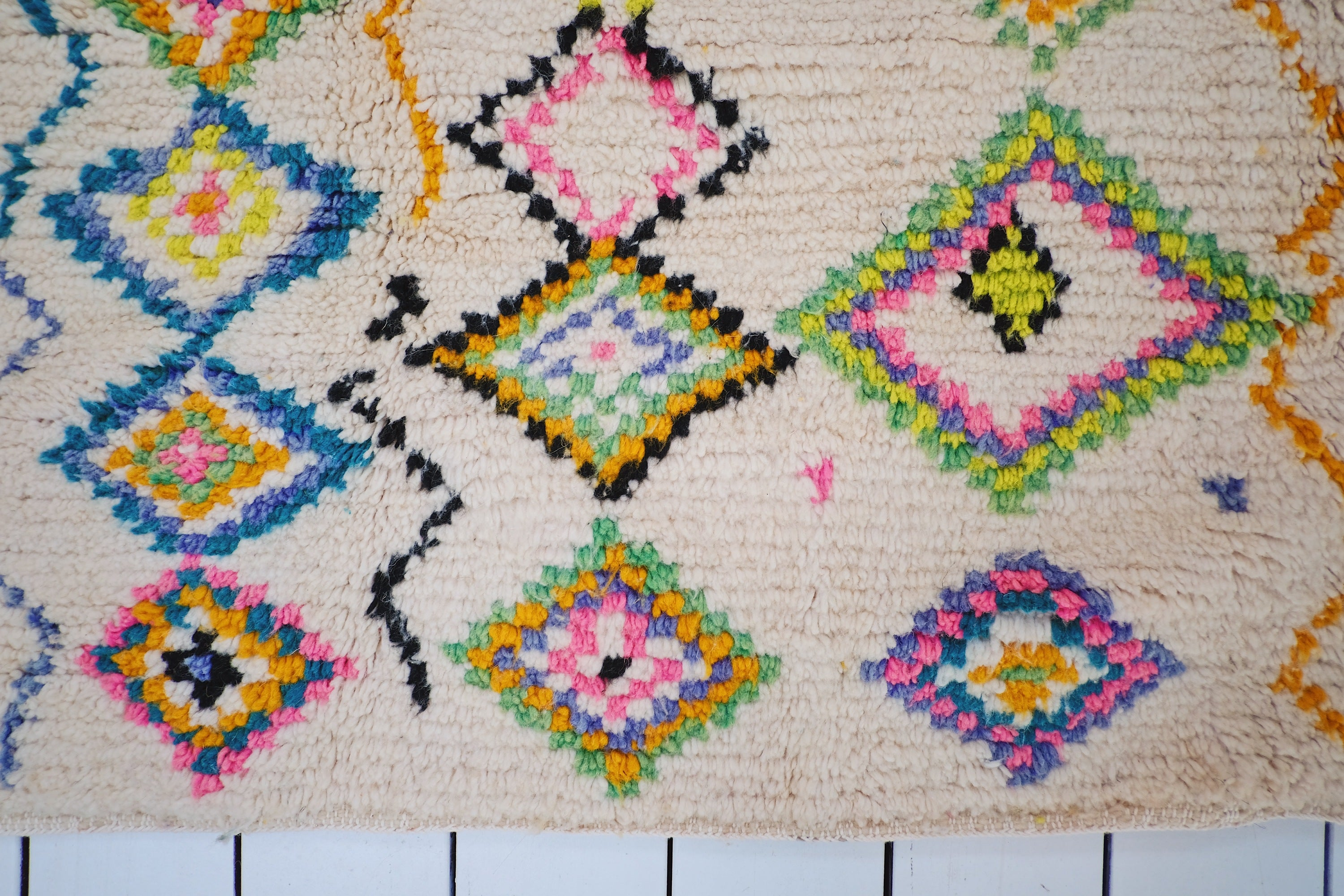 Rae Boho Ivory Multi Coloured Moroccan Rug - Lustere Living