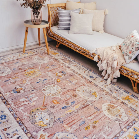 Mesta Blush Ornamental Floral Persian Rug - Lustere Living