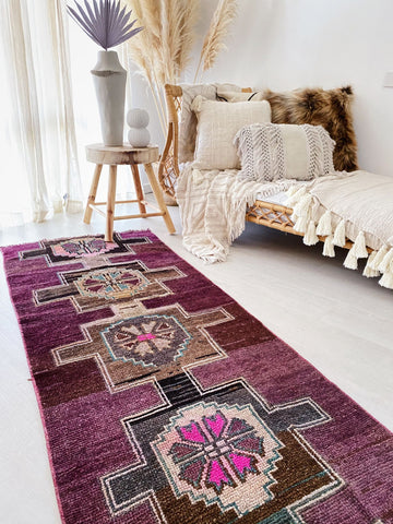 Rabia Deep Purple Burgundy Handwoven Turkish Hallway Corridor Runner Rug - Lustere Living