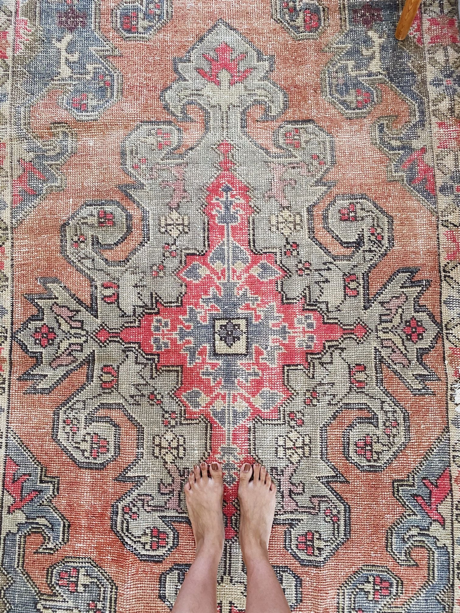Sachi Faded Coral Pale Blue Turkish One of A Kind Accent Rug - Lustere Living