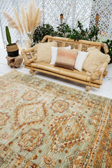 Vara Oversized Sea Foam Brick Overdyed Medallion Rug - Lustere Living