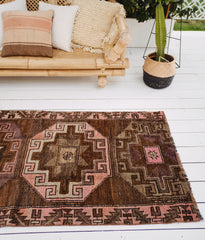 Roksana Brown Pink Handwoven Turkish Hallway Corridor Runner Rug - Lustere Living