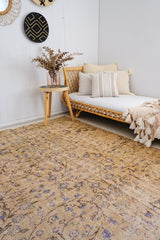 Kashmir Vintage Faded Apricot Muted Floral Turkish Rug - Lustere Living