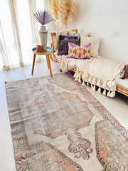 Liv Faded Taupe Grey Apricot Turkish One of A Kind Accent Rug