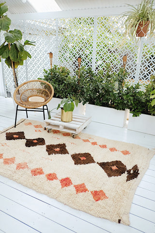 KATYA IVORY BROWN APRICOT ONE OF A KIND AZILAL MOROCCAN LIVING BEDROOM NURSERY RUG - Lustere Living