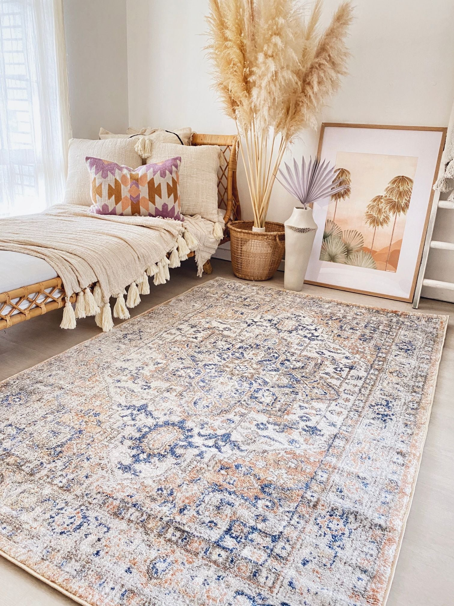 Silva Faded Apricot Blue Turkish Accent Nursery Rug