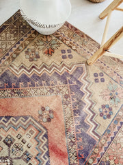 Konya Handwoven Faded Blush Violet Muted Turkish Accent Rug - Lustere Living