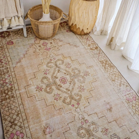 Alhambra Faded Peach Ivory Turkish Runner Rug - Lustere Living