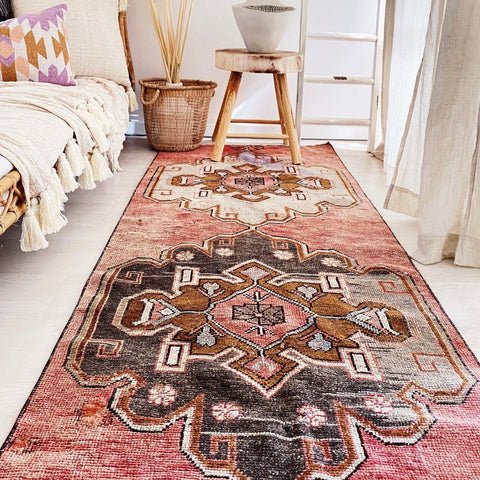 Jani Faded Rose Handwoven Turkish Hallway Kitchen Runner Rug