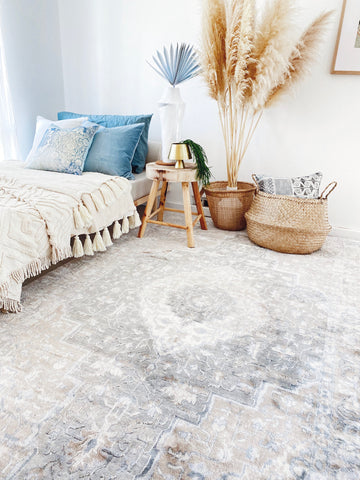 Malva Soft Blue Faded Grey Textured Soft Bedroom Rug