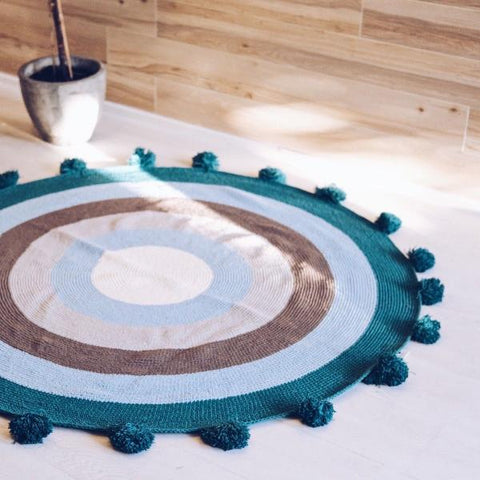 Ashley Turquoise Pom Pom Knit Round Rug - Lustere Living