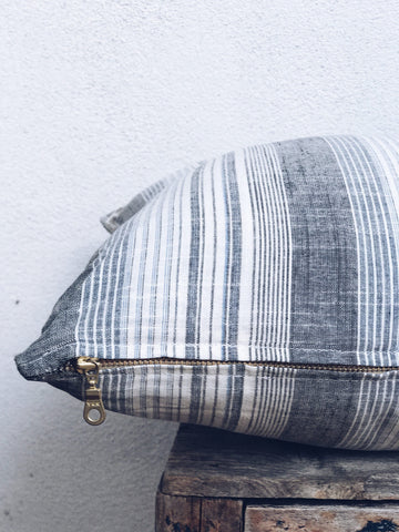 Mia Grey Linen Stripe Brass Zip Cushion Cover - Lustere Living