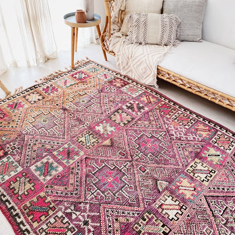 Electra Faded Fuchsia Vintage Moroccan Boujad One of A Kind Rug
