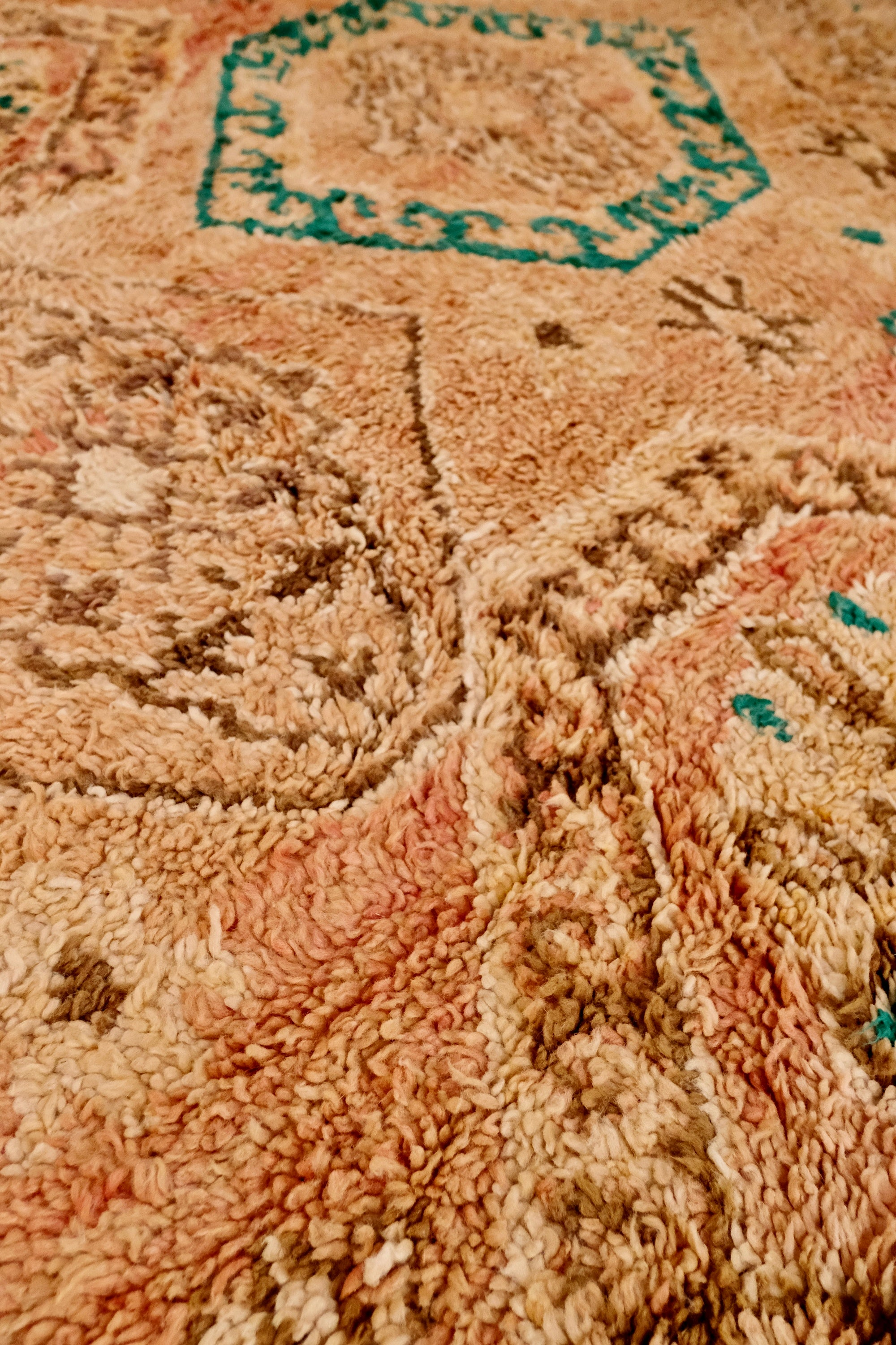 Baz Vintage Peach Taupe One of A Kind Moroccan Rug - Lustere Living