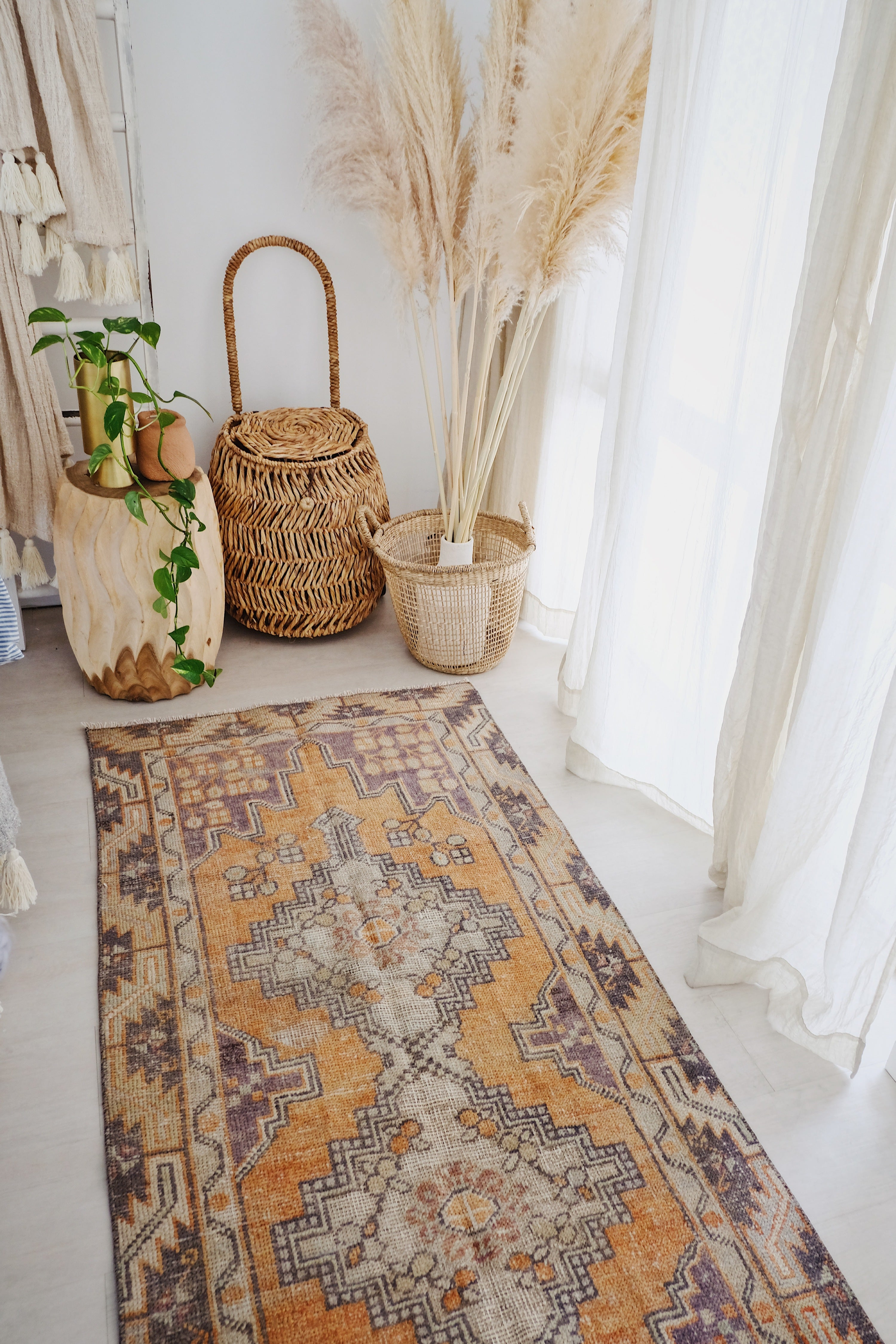 Apricot Lavender Handwoven Turkish Hallway Kitchen Runner Rug - Lustere Living