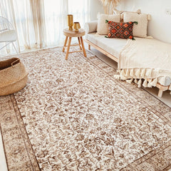 Joana Natural Taupe Faded Brown Floral Turkish Rug