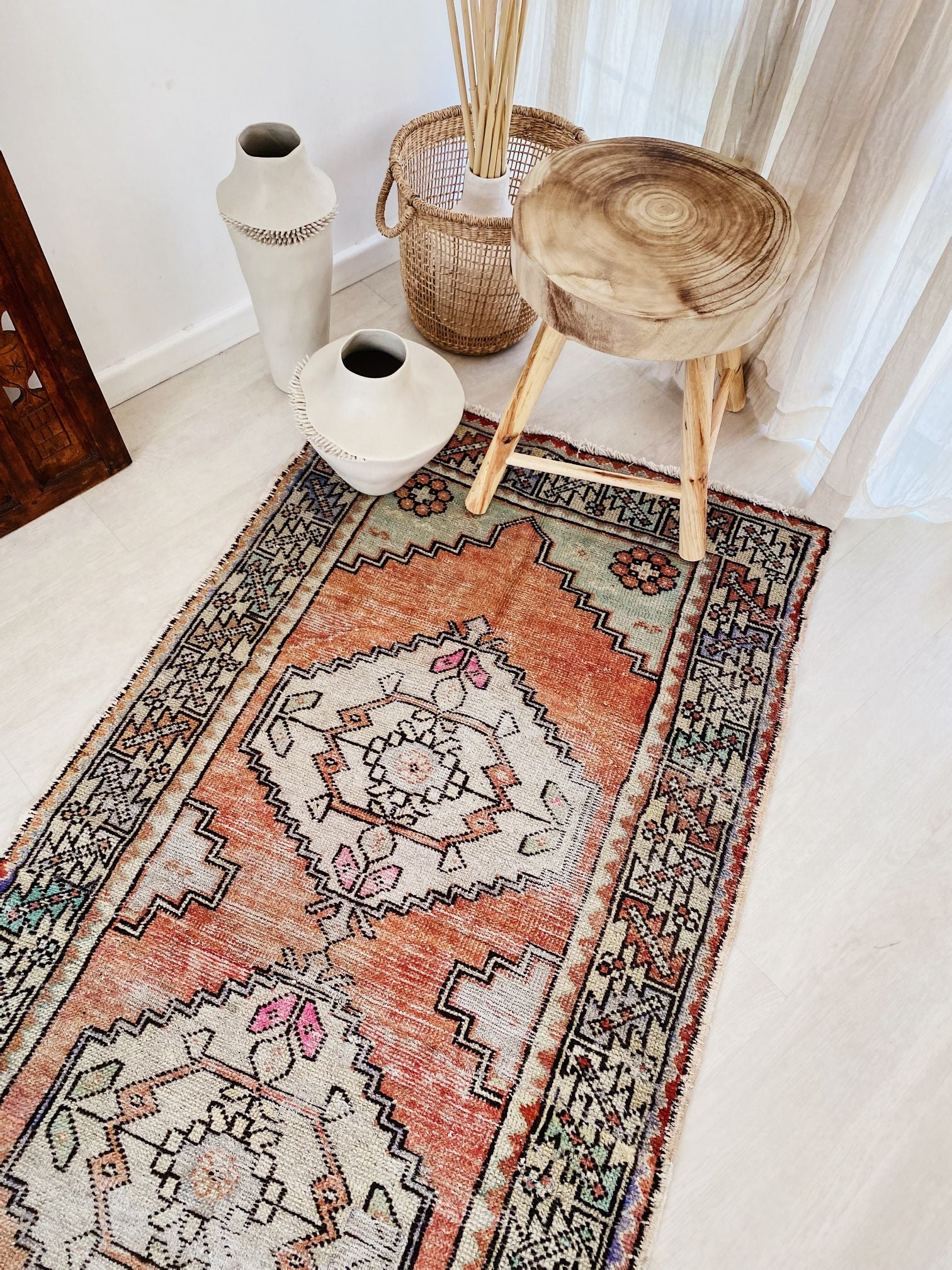 Mugla Faded Apricot Lavender Mint Turkish Hallway Kitchen Runner Rug - Lustere Living