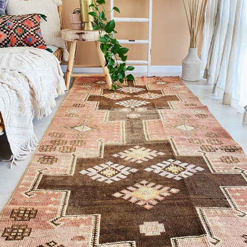 Capri Faded Blush Peach Handwoven Turkish Hallway Kitchen Runner Rug