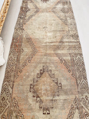 Sabah Faded Taupe  Handwoven Turkish Hallway Kitchen Runner Rug - Lustere Living