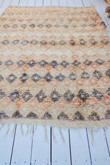 Martha Mini Diamond Soft Peach Taupe Vintage Moroccan Boujad Rug - Lustere Living