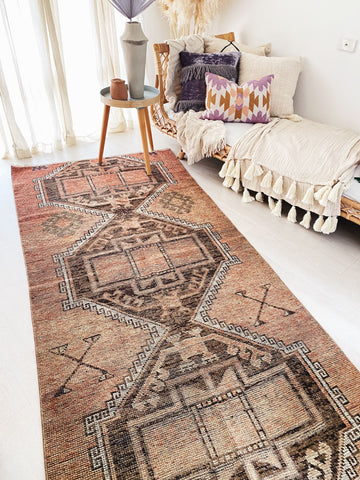 Taru Faded Peach Brown Tribal Turkish Hallway Kitchen Runner Rug