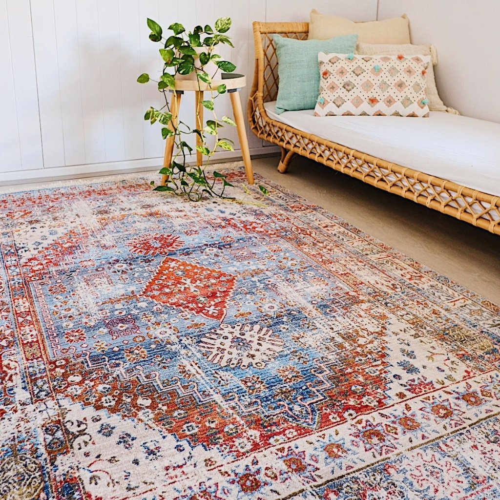 Sakina Overdyed Vintage Boho Diamond Medallion Bedroom Living Soft Rug 240X160 - Lustere Living