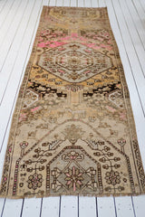 Zamir One of a Kind Faded Pastel Brown Vintage Turkish Runner Rug - Lustere Living