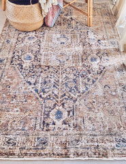 Ruska Faded Clay Brick Indigo Tribal Nursery Turkish Rug