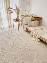 Tia Handwoven Soft Cotton Ivory Creme Shag Tribal Rug - Lustere Living